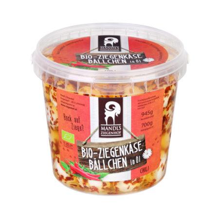 Bio Ziegenkäsebällchen mit Chili im Kübel 700g