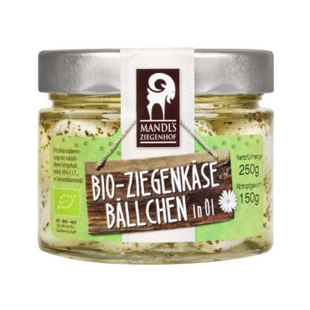 Bio Ziegenkäsebällchen in Öl - Glas Kräuter 150g